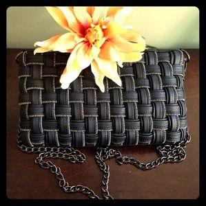Olivia + Joy Black Zipper Shoulder Bag Clutch